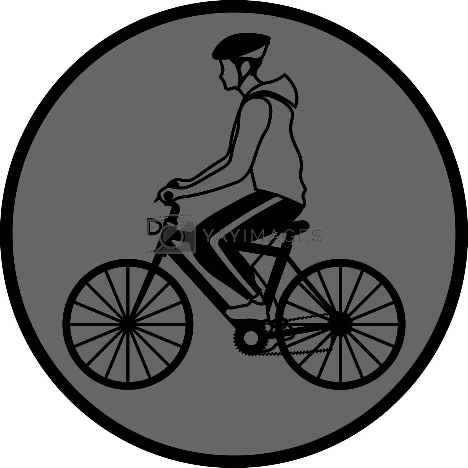 simple outline grey icon with man in sportswear riding a bike