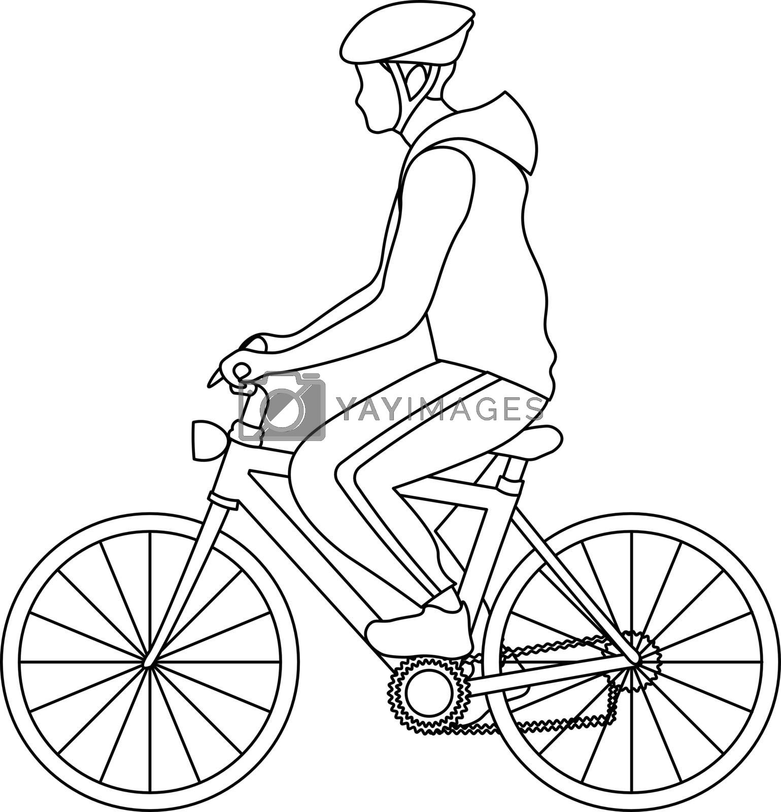 simple outline illustration with man in sportswear riding a bike