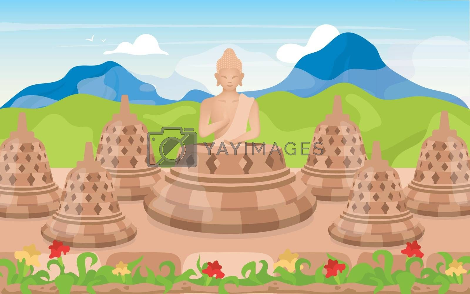 Buddha flat vector illustration. Religious sculpture. Place of worship in mountains. Meditating pose. Indonesian religion. Buddhism. Borobudur cartoon background