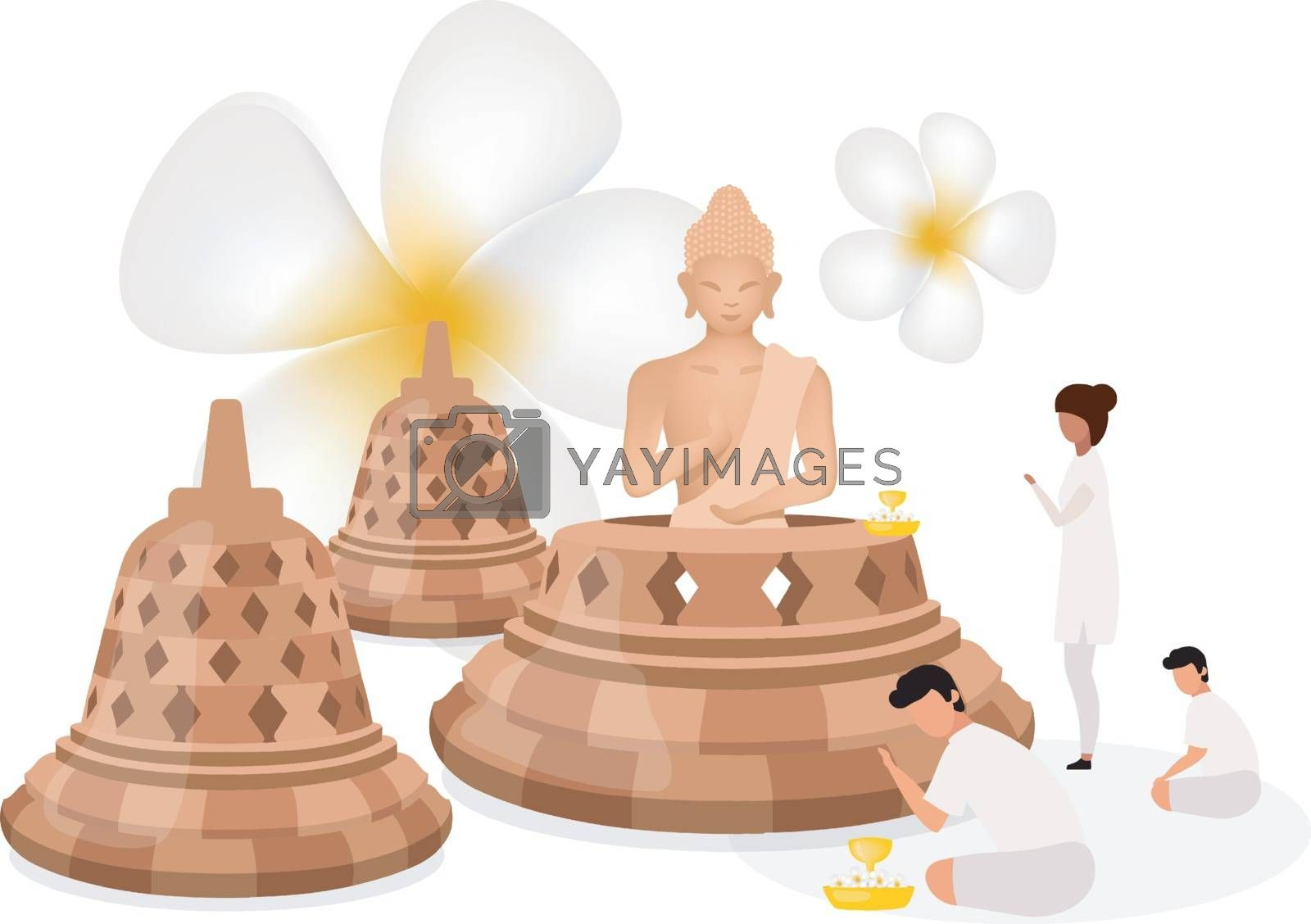 Place of worship flat vector illustration. Buddha religious sculpture. Indonesian religion. Buddhism. Meditating people. Men and women isolated cartoon character on white background