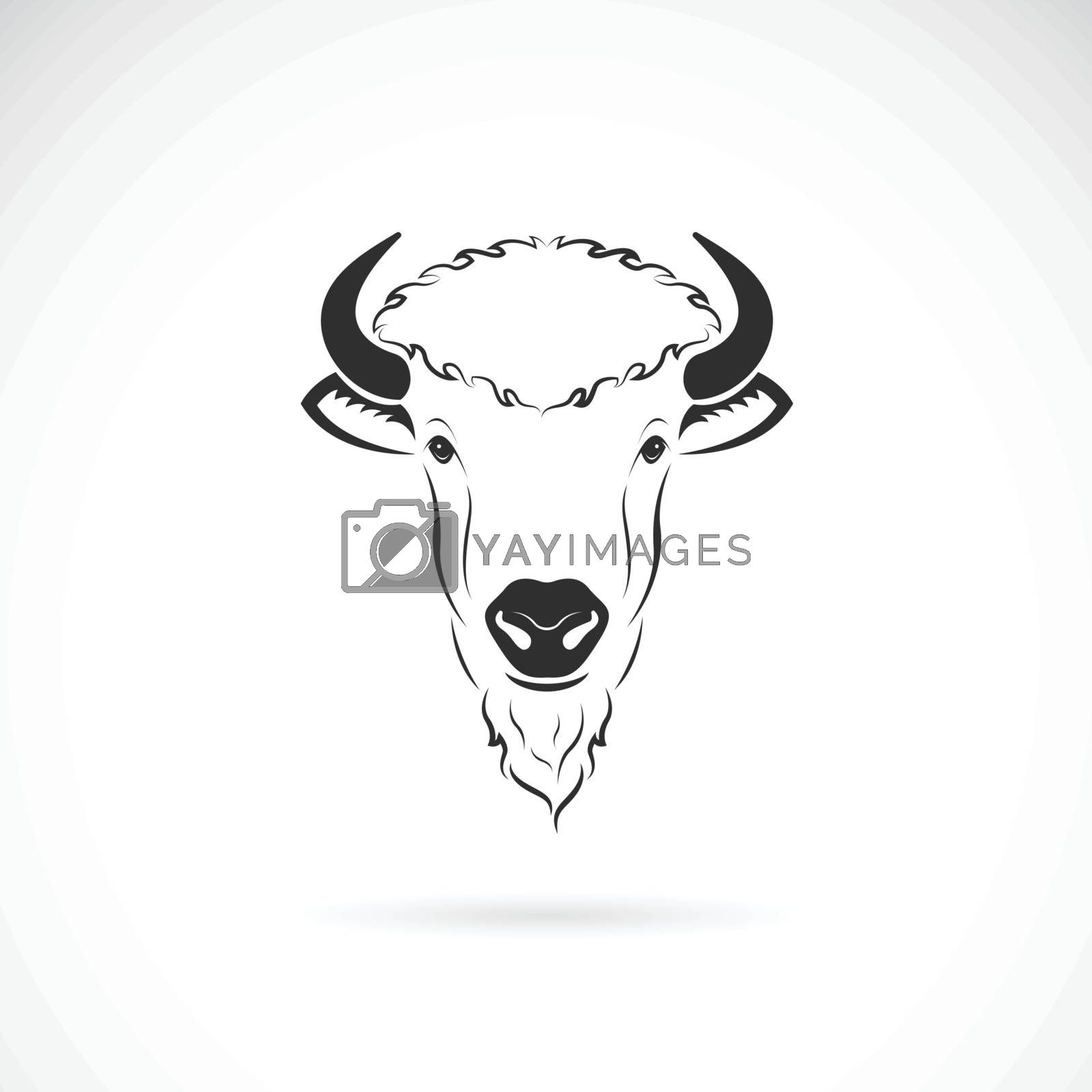 Vector of bison head design on white background. Wild Animals. Bisons logos or icons. Easy editable layered vector illustration.