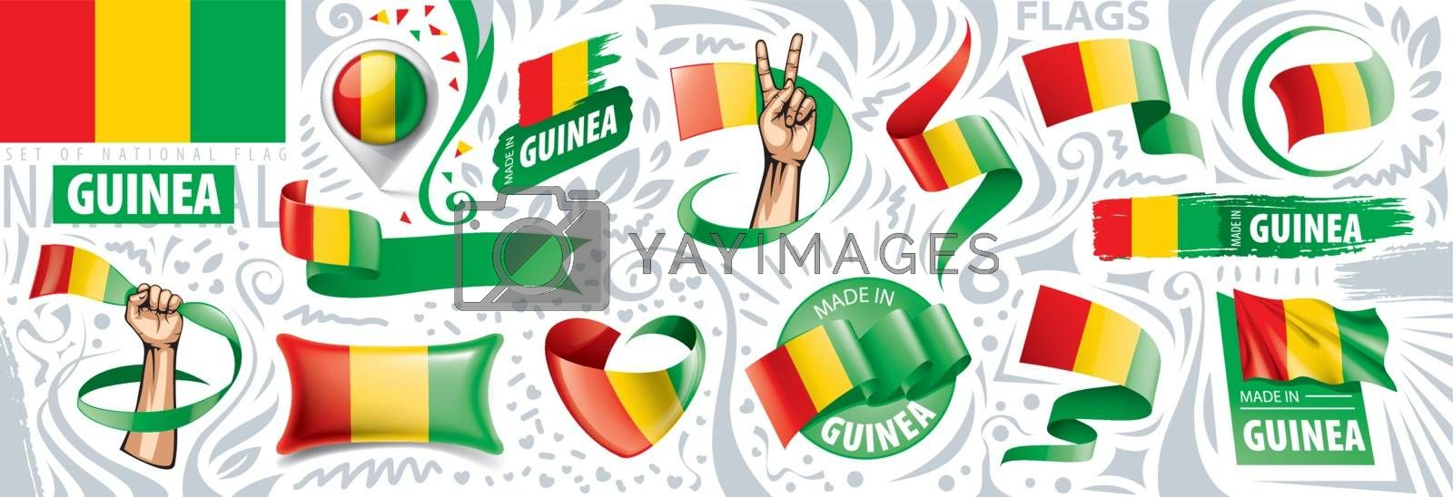 Vector set of the national flag of Guinea in various creative designs.