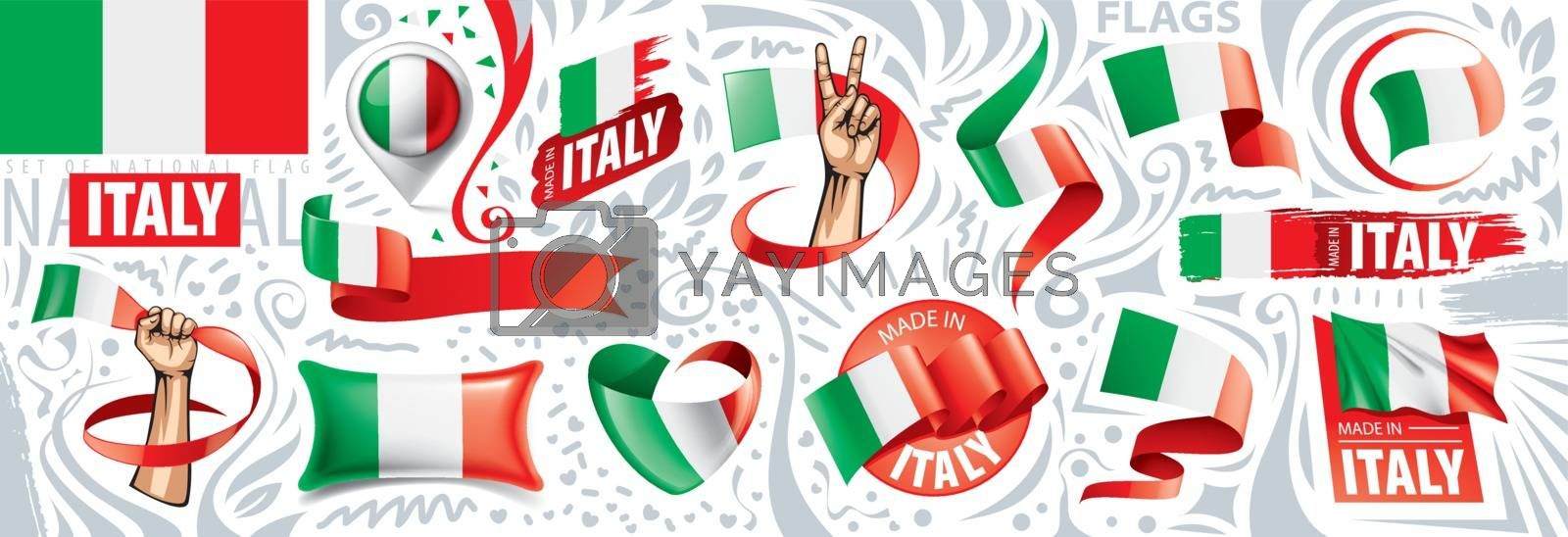 Vector set of the national flag of Italy in various creative designs by Butenkov