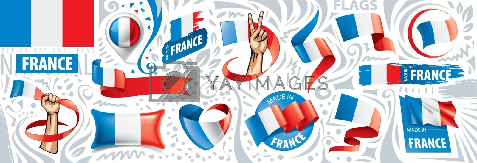 Vector set of the national flag of France in various creative designs.