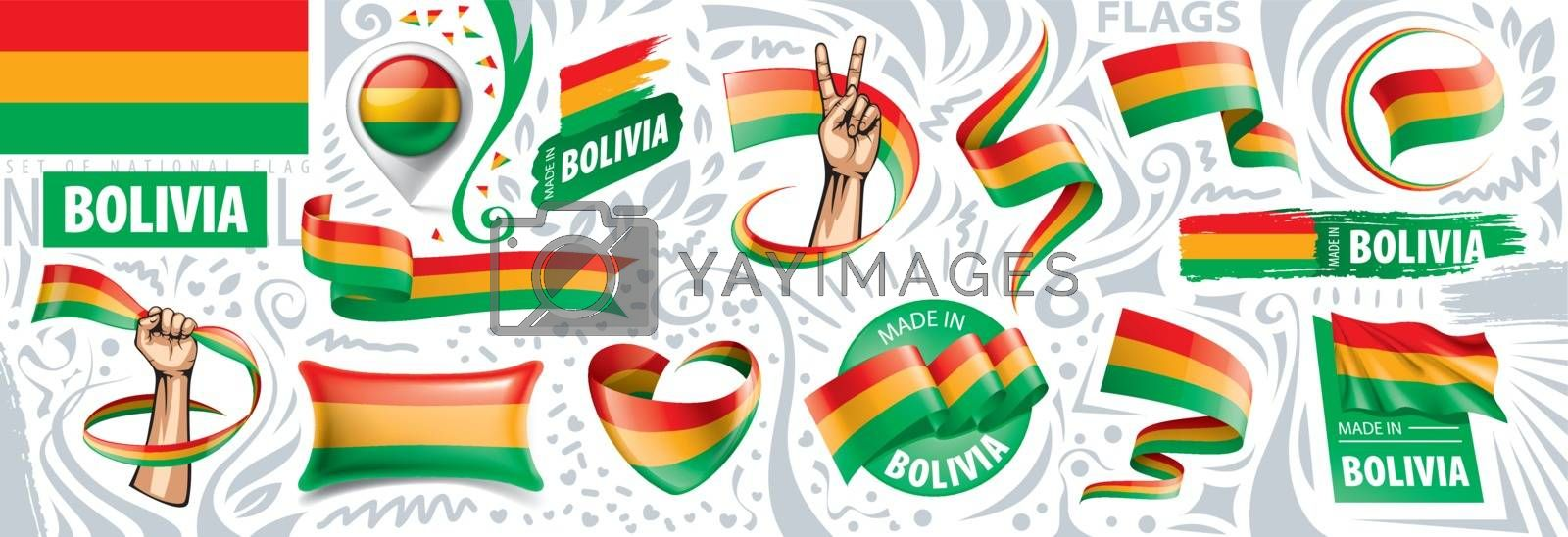 Vector set of the national flag of Bolivia in various creative designs by Butenkov