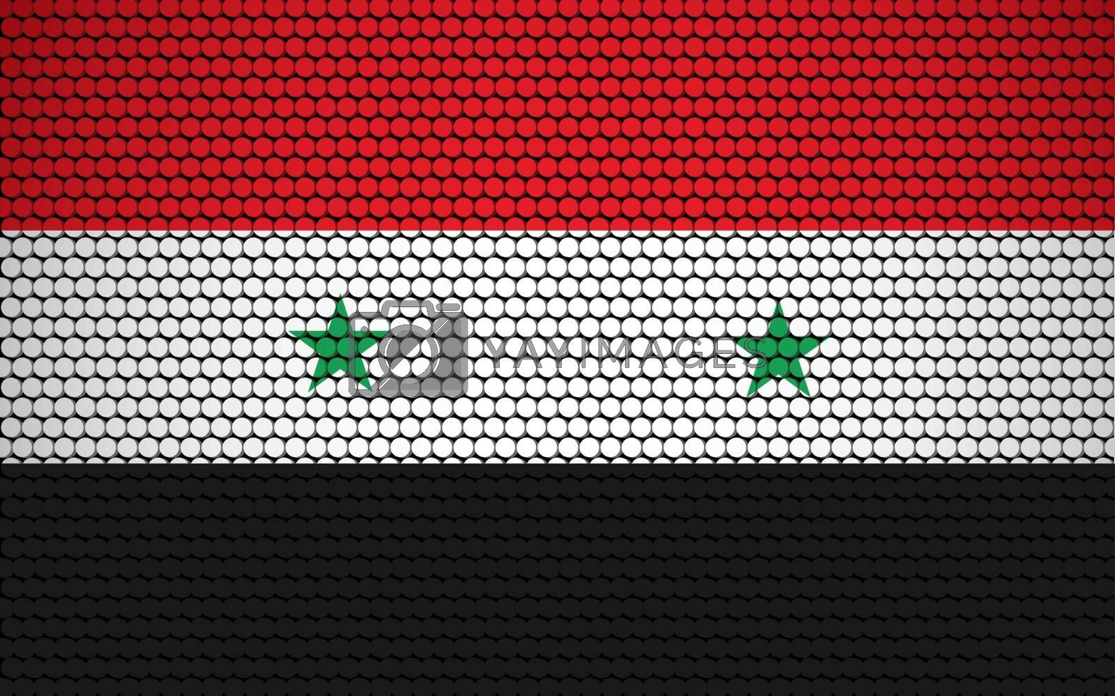 Abstract flag of Syria made of circles. Syrian flag designed with colored dots giving it a modern and futuristic abstract look.