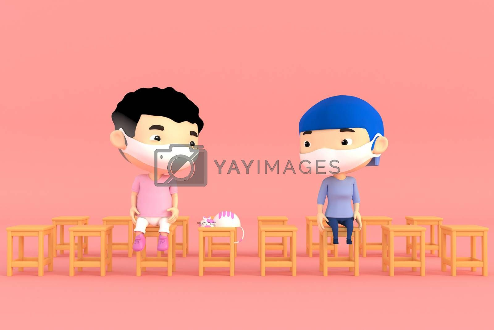 3d illustrator of cartoon characters. Boy and girl Wear a mask And sitting apart to prevent  diseases and viruses