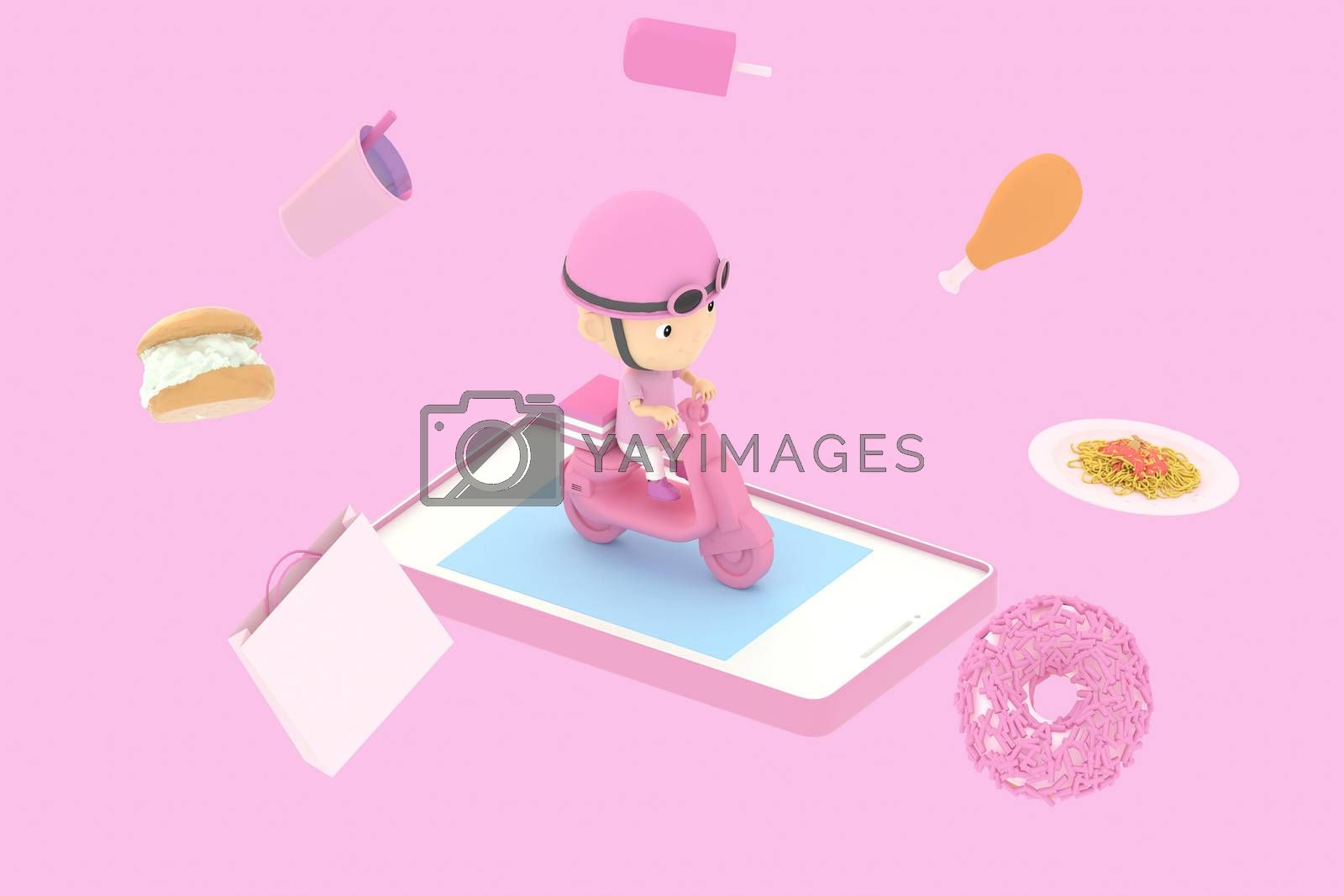 3d illustrator of cartoon characters. A man driving a motorcycle delivering food From online purchases