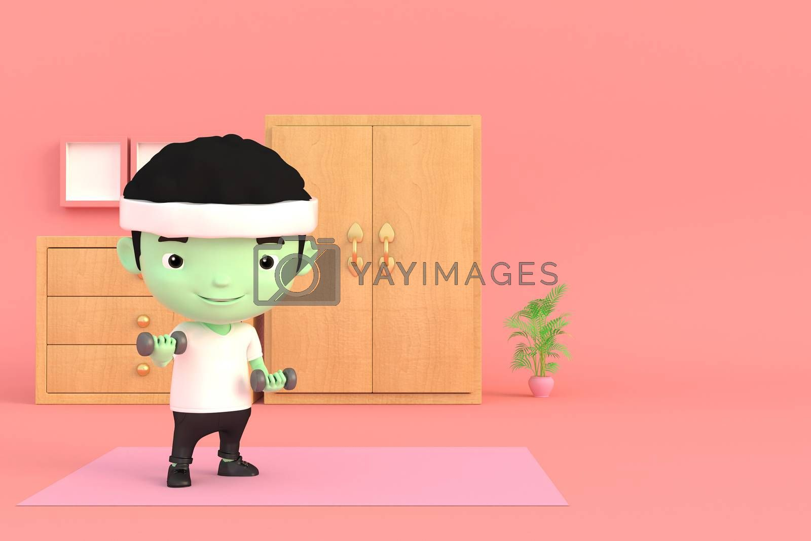 3d illustrator of cartoon characters. A man exercising by lifting dumbbells