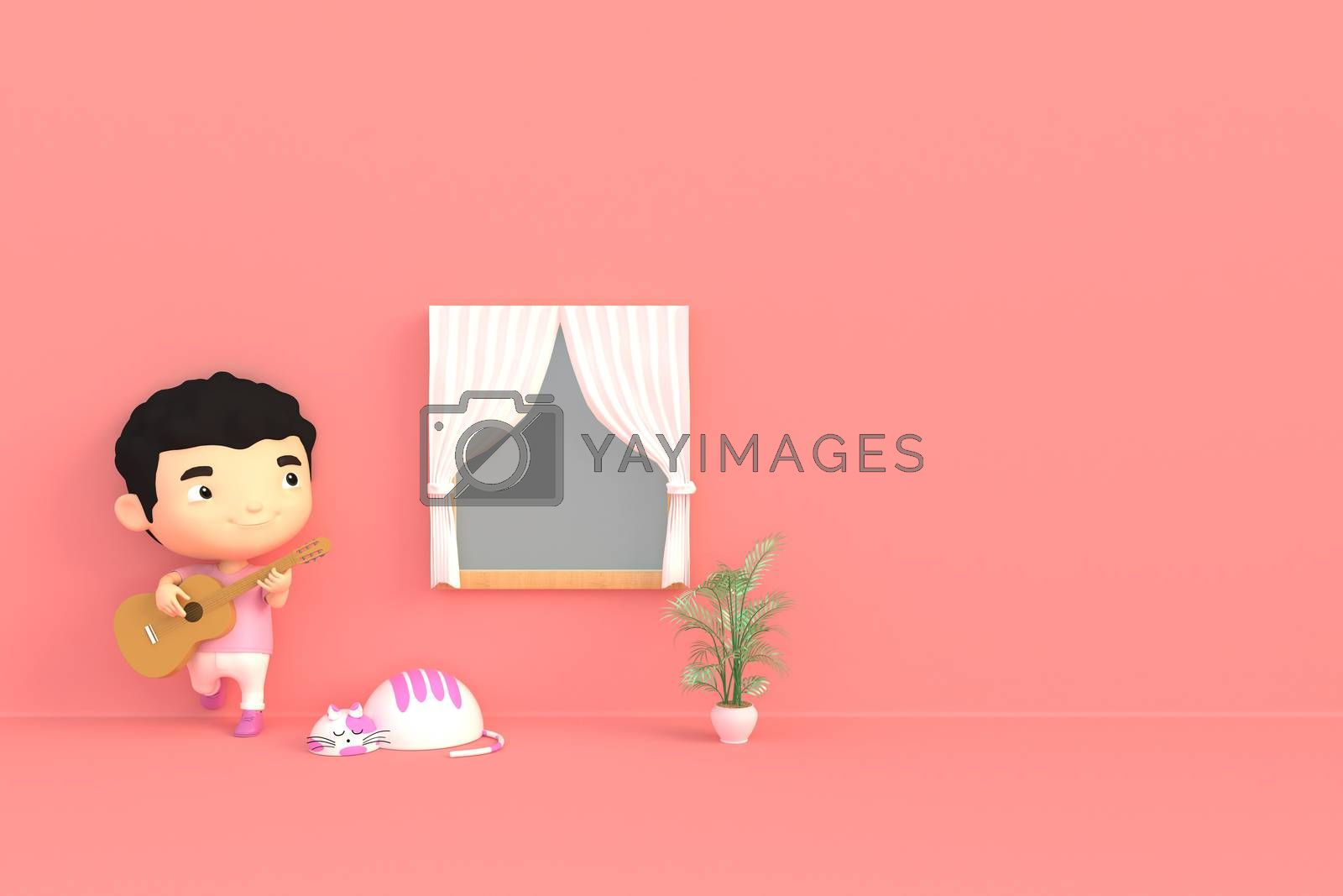 3d illustrator cartoon characters. The boy plays the guitar to the cat in his room.