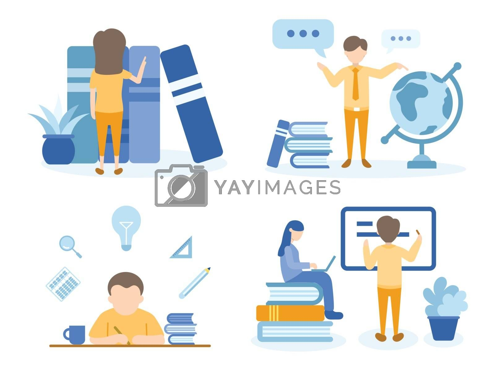 Student searching for books. Teacher teaching about our globe. Concept Illustration of education for training, studying, e-learning, and online course.