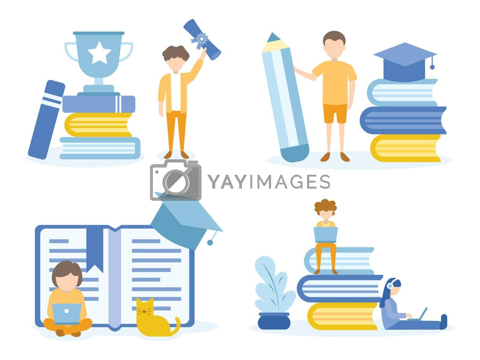 A Man is happy with graduation. Student doing homework with pencil and laptop from online course.  Concept Illustration of education for training, studying, e-learning, and online course.