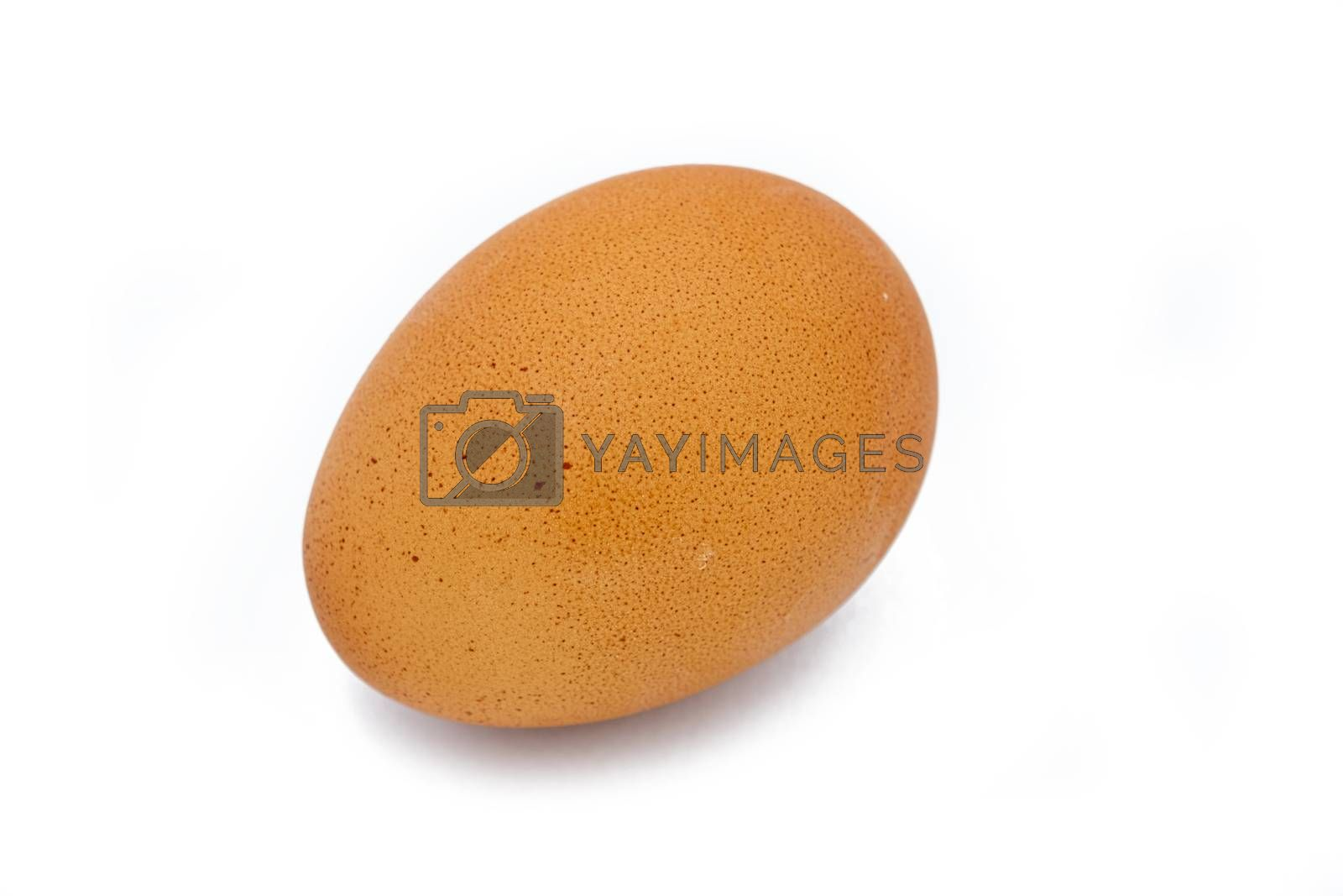Close up a chicken egg isolated on white background