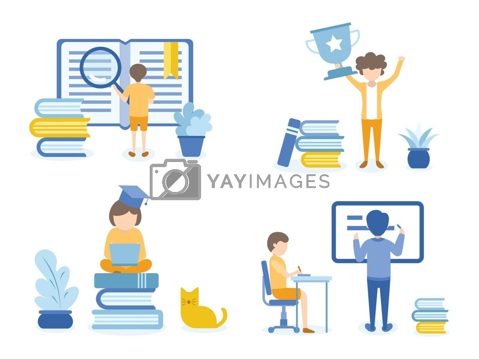 Boy searching in a book for his homework. Women happy with Trophy. Concept Illustration of education for training, studying, e-learning, and online course.
