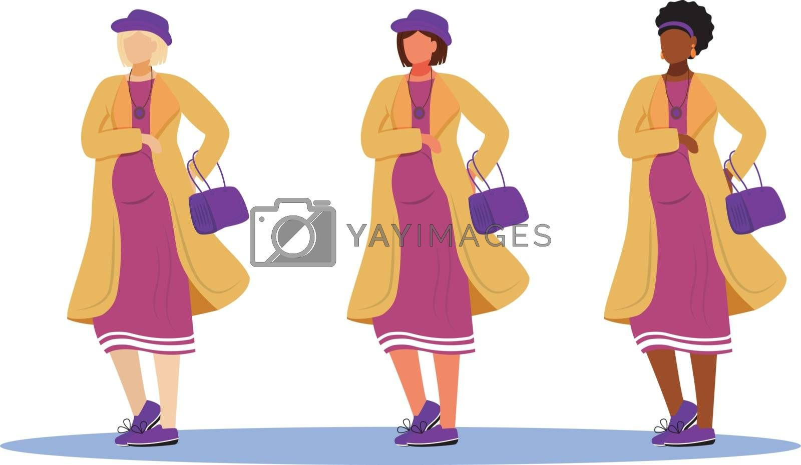 Pregnant women flat vector illustrations set. Active ladies maternity preparation. Standing girls of different races waiting of babies isolated cartoon characters on white background
