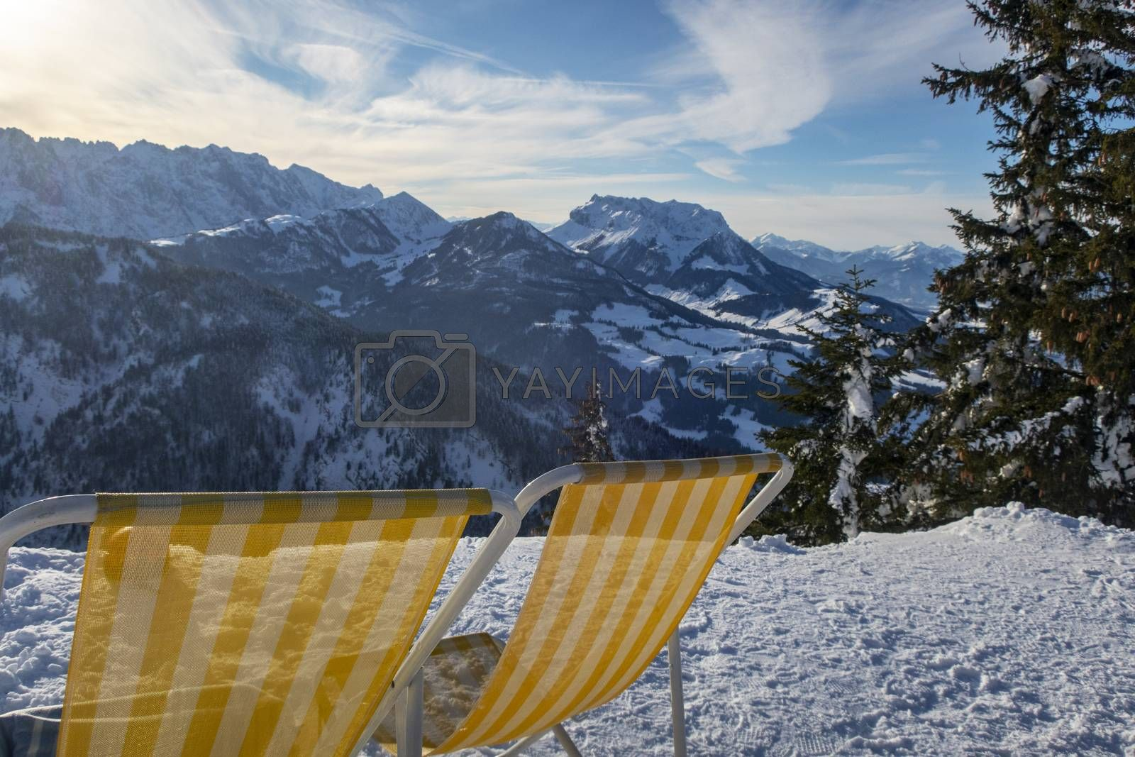 deck chairs in austria in winter