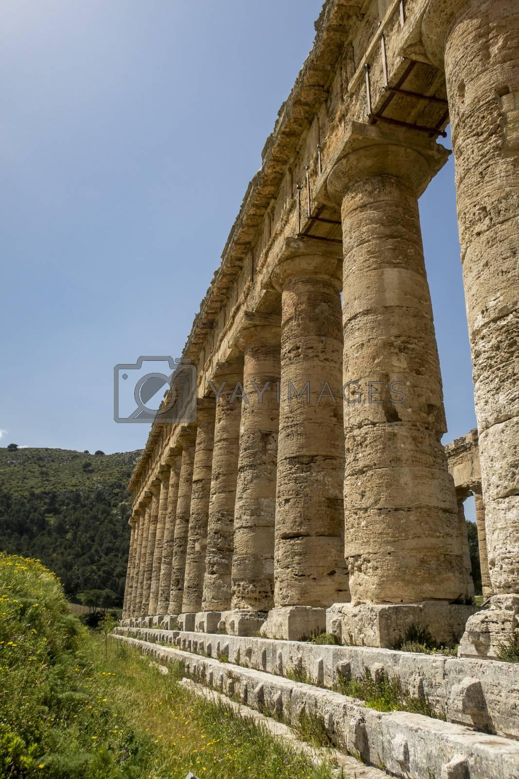 ancient roman temple in segesta in sicily