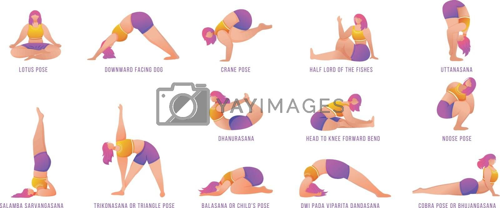 Yoga poses flat vector illustrations set. Caucausian women doing yoga asanas in orange and purple sportswear. Female figures doing physical exercises. Workout, fitness. Isolated cartoon character