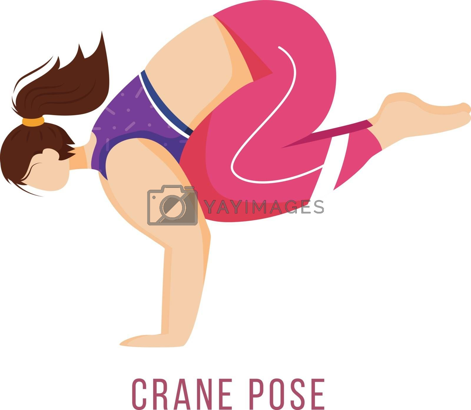 Crane pose flat vector illustration. Bakasana. Caucausian woman performing yoga posture in pink and purple sportswear. Workout. Physical exercise. Isolated cartoon character on white background