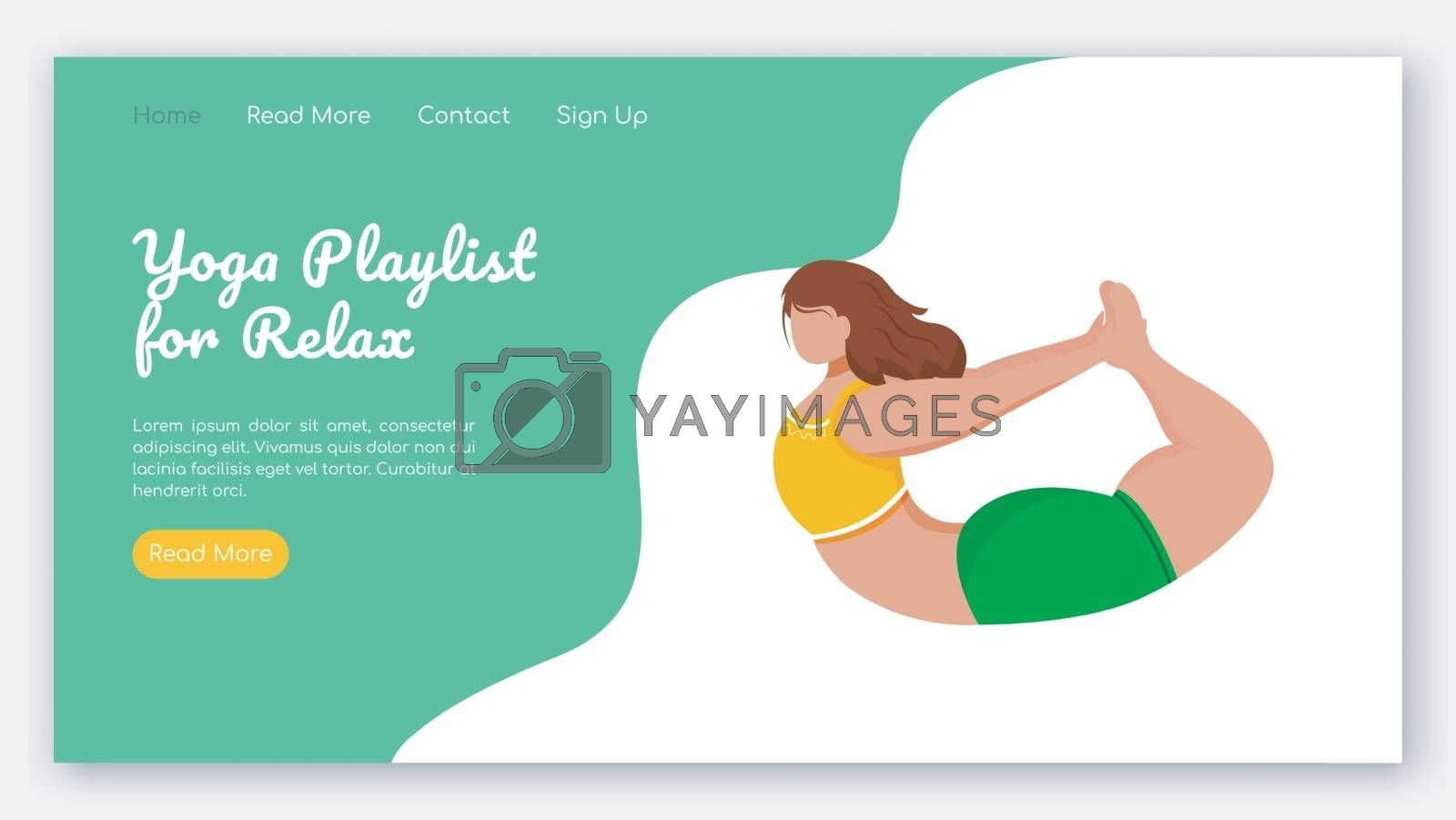 Yoga playlist for relax landing page vector template. Sport stretch exercises. Bodypositive website interface idea with flat illustrations. Homepage layout, web banner, webpage cartoon concept