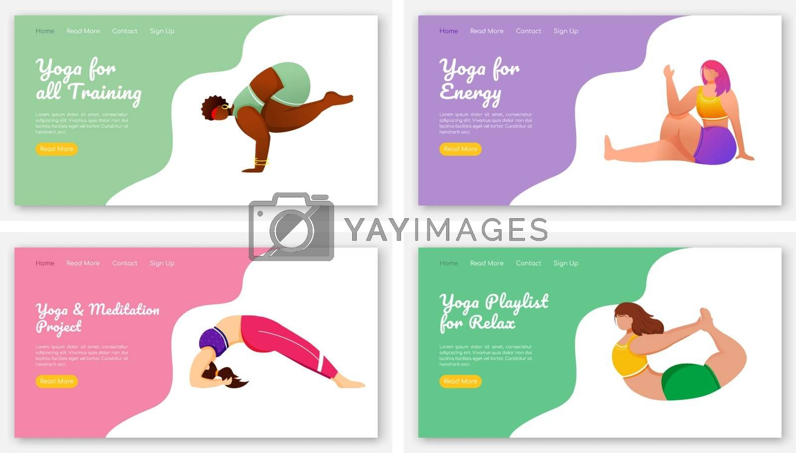 Yoga poses landing page vector template set. Meditation exercises. Healthy lifestyle. Bodypositive website interface idea with flat illustrations. Homepage layout, web banner, webpage cartoon concept