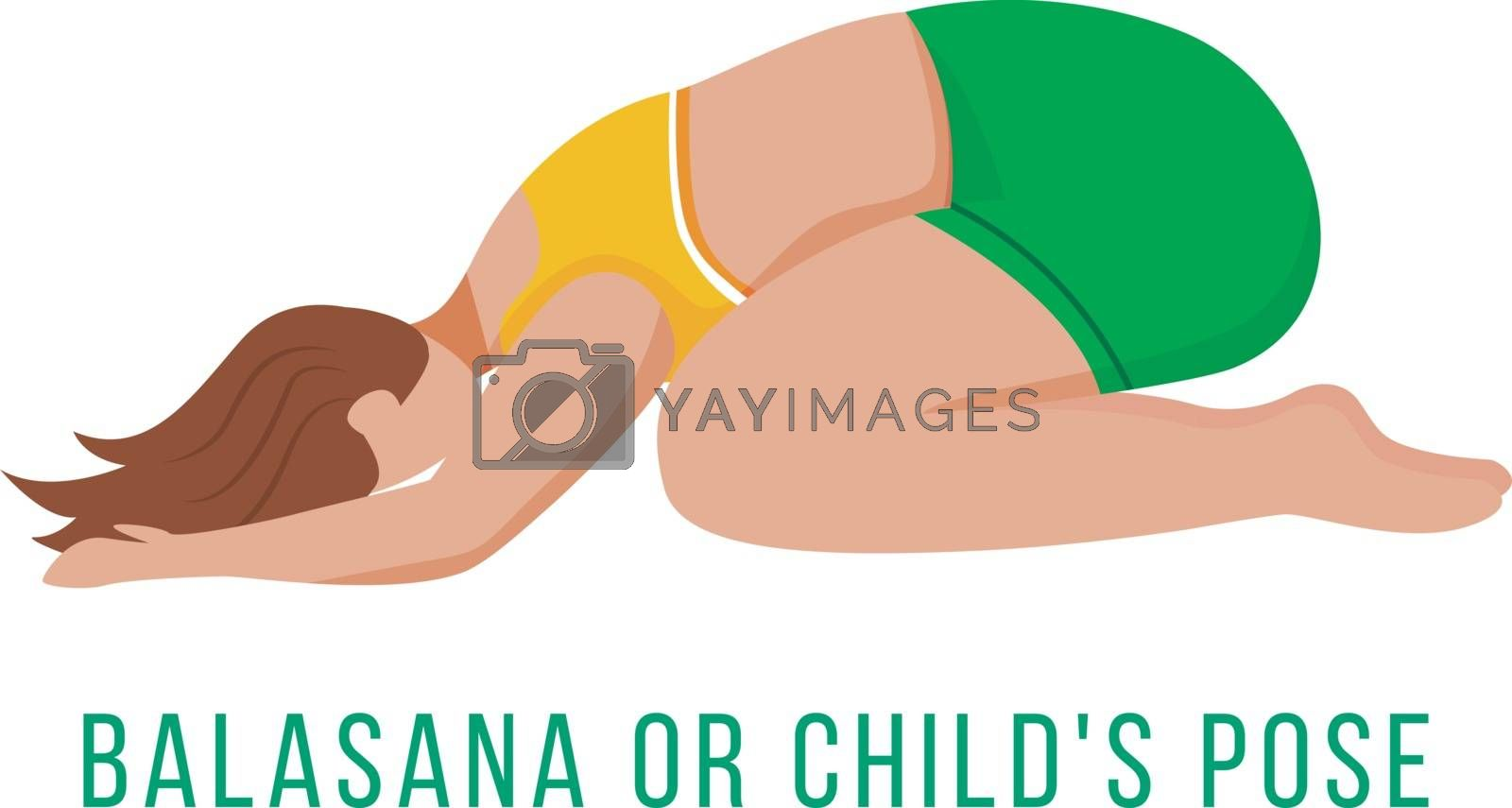 Balasana flat vector illustration. Child's pose. Caucausian woman performing yoga posture in green and yellow sportswear. Workout. Physical exercise. Isolated cartoon character on white background