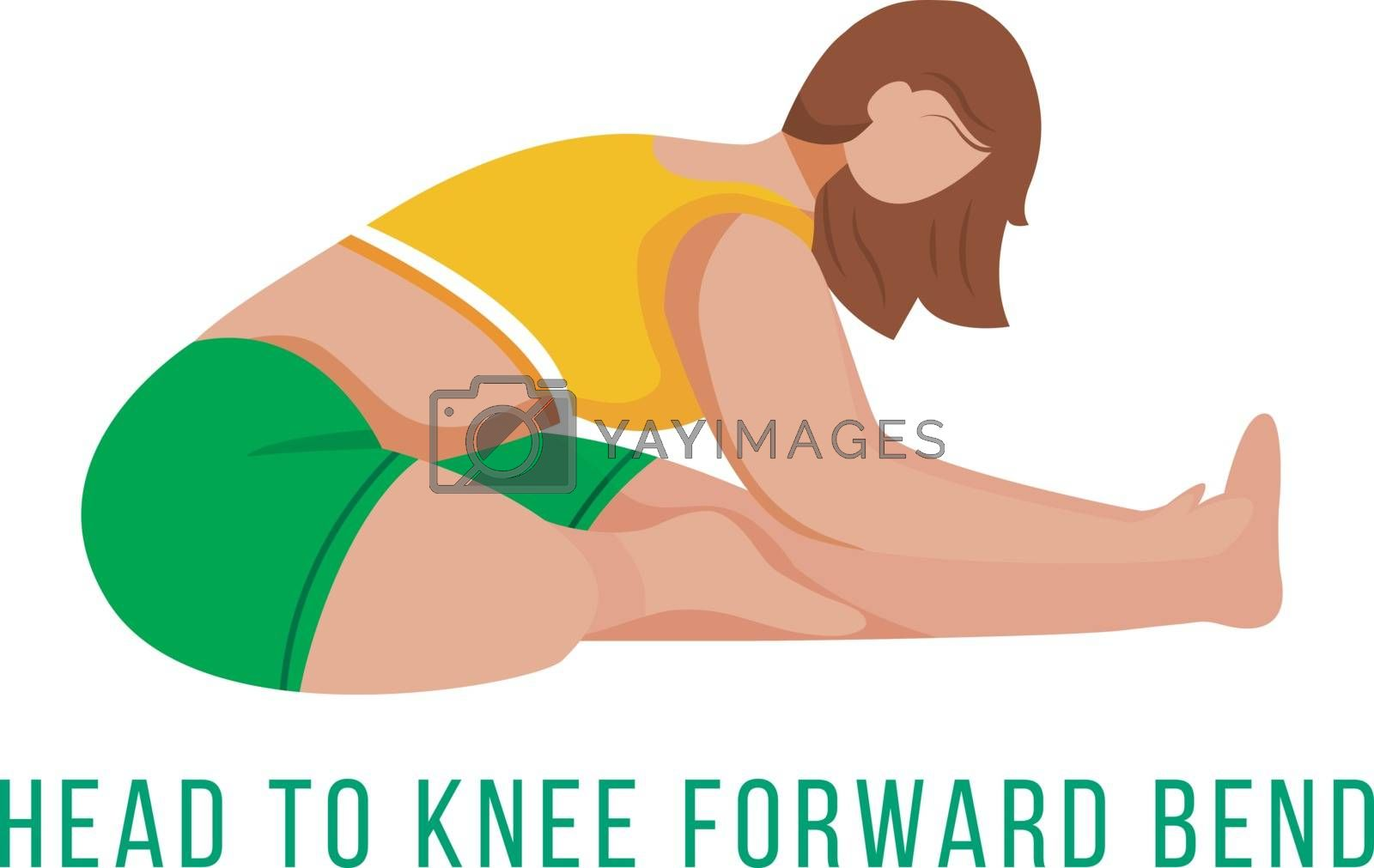 Head to knee forward bend flat vector illustration. Janu Sirsasana. Caucausian woman performing yoga posture in green and yellow sportswear. Workout. Isolated cartoon character on white background