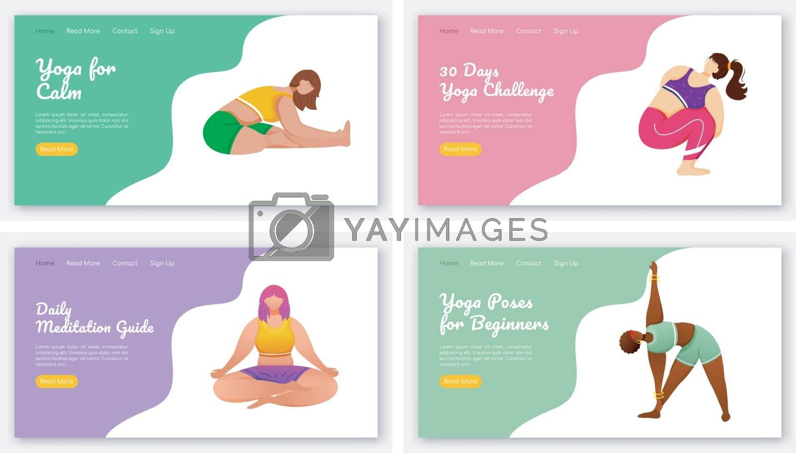 Yoga and meditation poses landing page vector template set. Stretch exercises. Bodypositive website interface idea with flat illustrations. Homepage layout, web banner, webpage cartoon concept