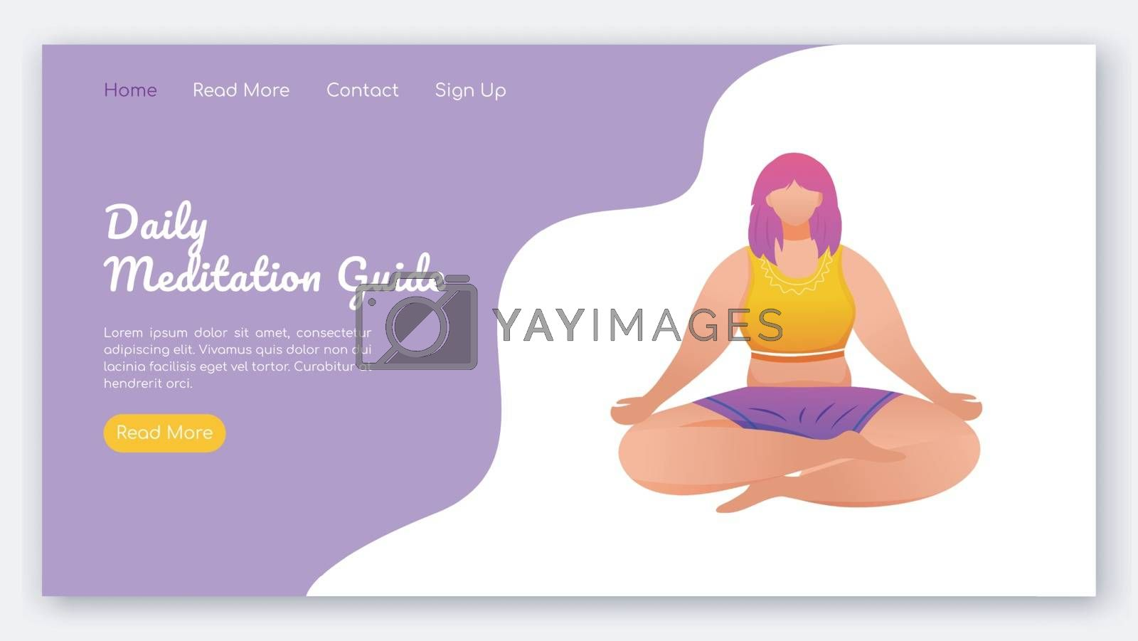 Daily meditation guide landing page vector template. Yoga poses. Healthy lifestyle. Bodypositive website interface idea with flat illustrations. Homepage layout, web banner, webpage cartoon concept