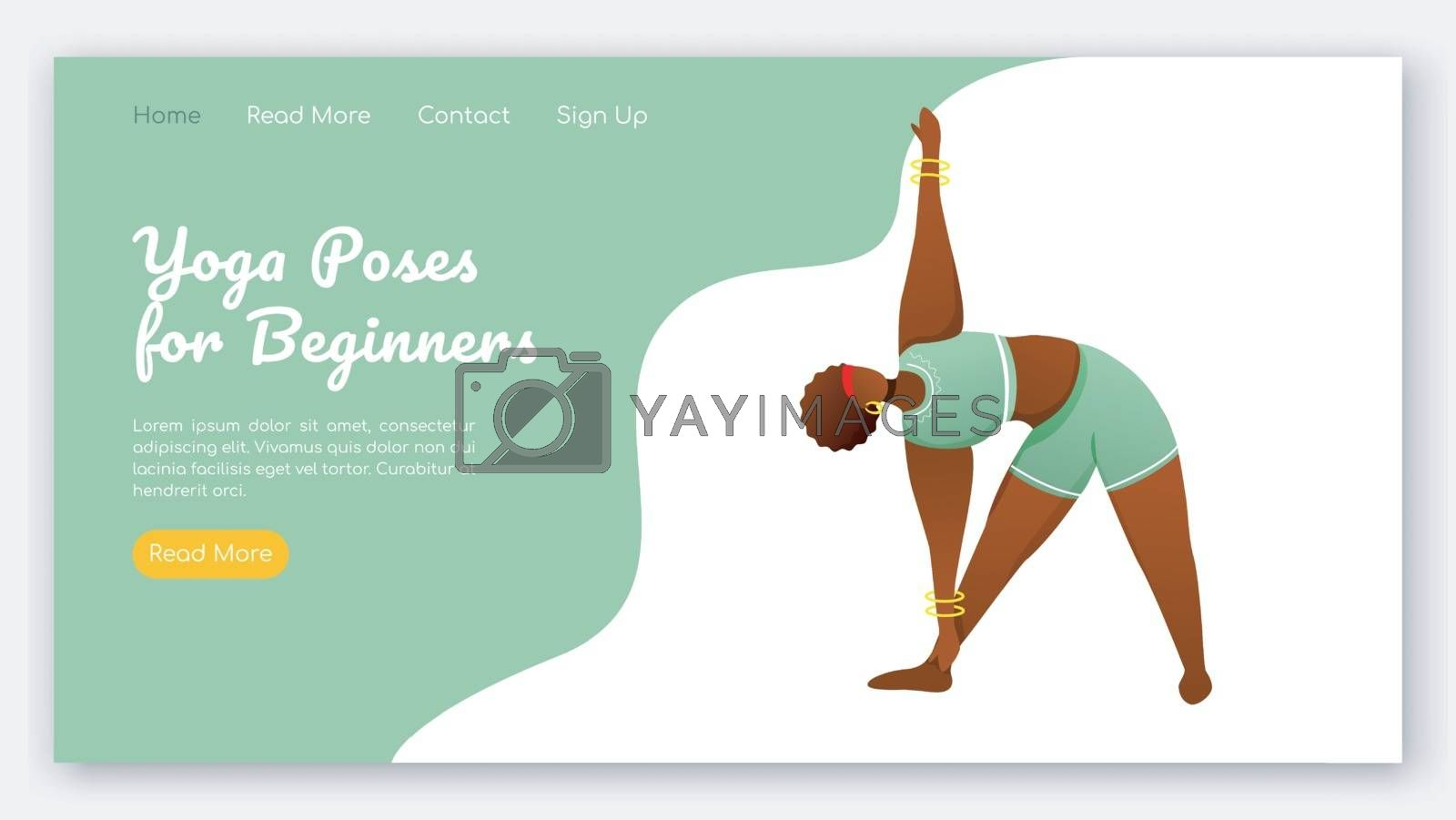 Yoga poses for beginners landing page vector template. Active and healthy lifestyle. Bodypositive website interface idea with flat illustrations. Homepage layout, web banner, webpage cartoon concept