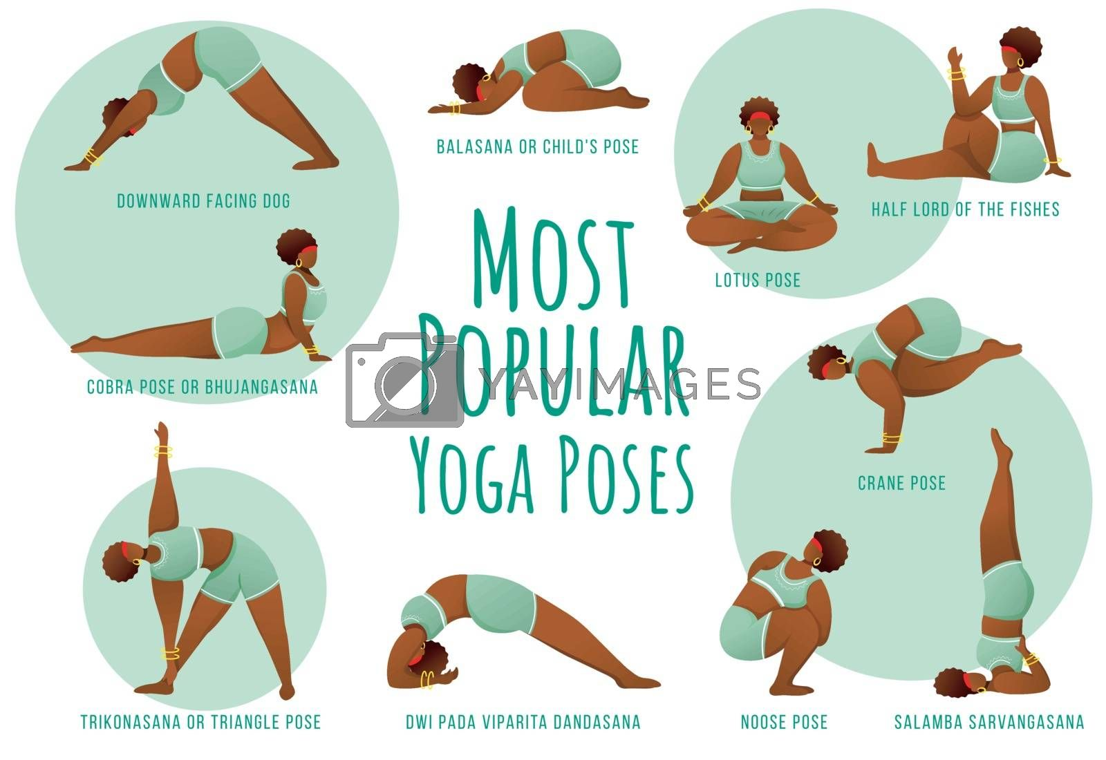 Popular yoga poses green vector infographic template. Body positive dark skin female. Poster concept design with flat illustrations. Advertising flyer, leaflet, banner with workflow layout idea