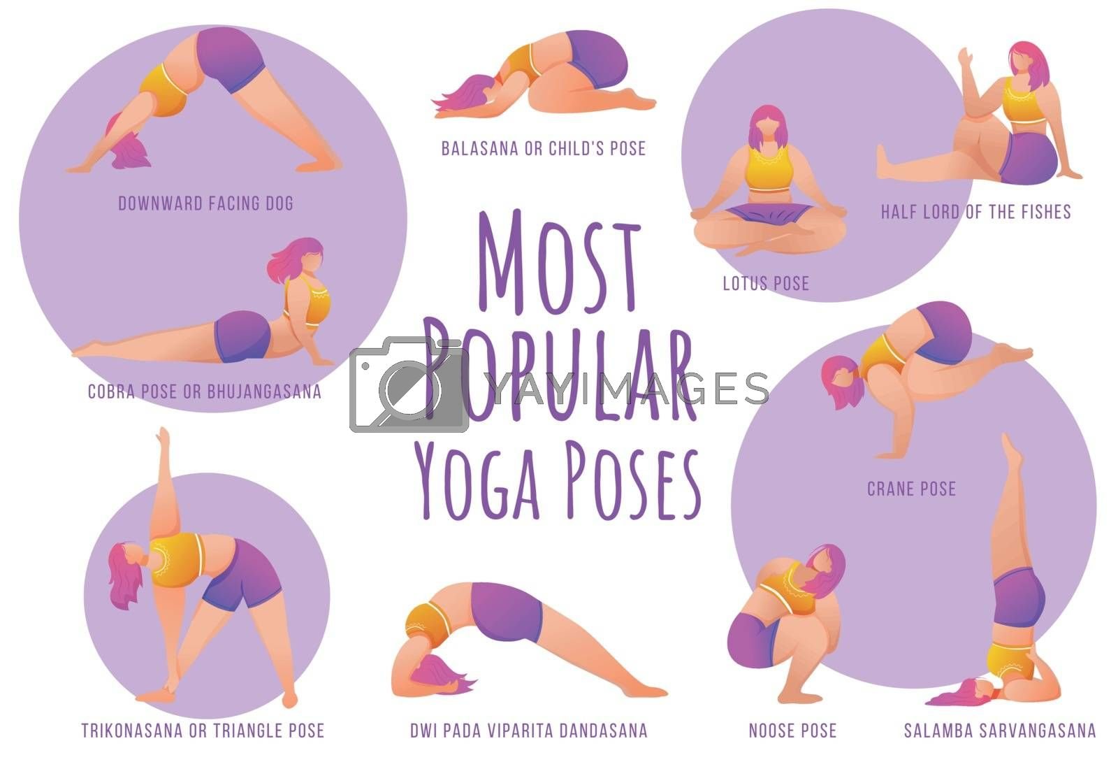 Popular yoga poses violet vector infographic template. Body positive females. Poster, booklet page concept design with flat illustrations. Advertising flyer, leaflet, banner with workflow layout idea