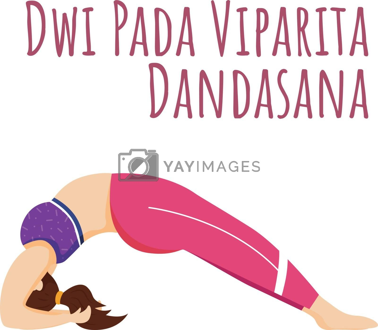 Dwi Pada Viparita Dandasana social media post mockup. Dropping back to Bench. Yoga. Web banner design template. Social media booster, content layout. Poster, printable card with flat illustrations