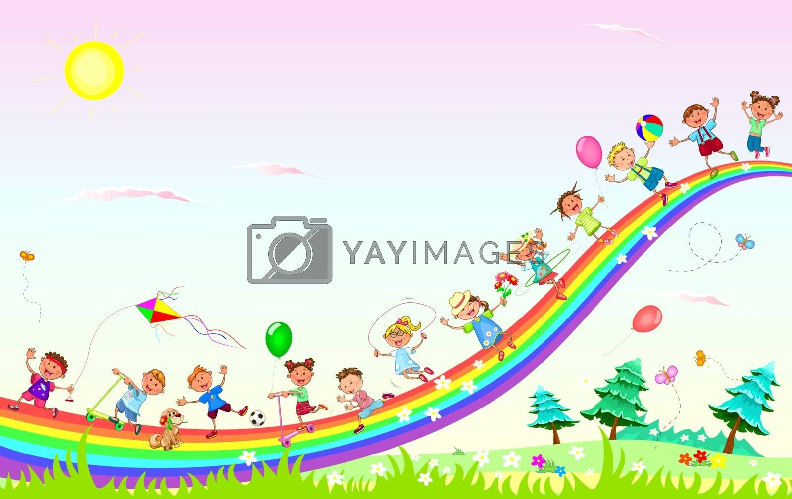 Happy children play on the rainbow by liolle