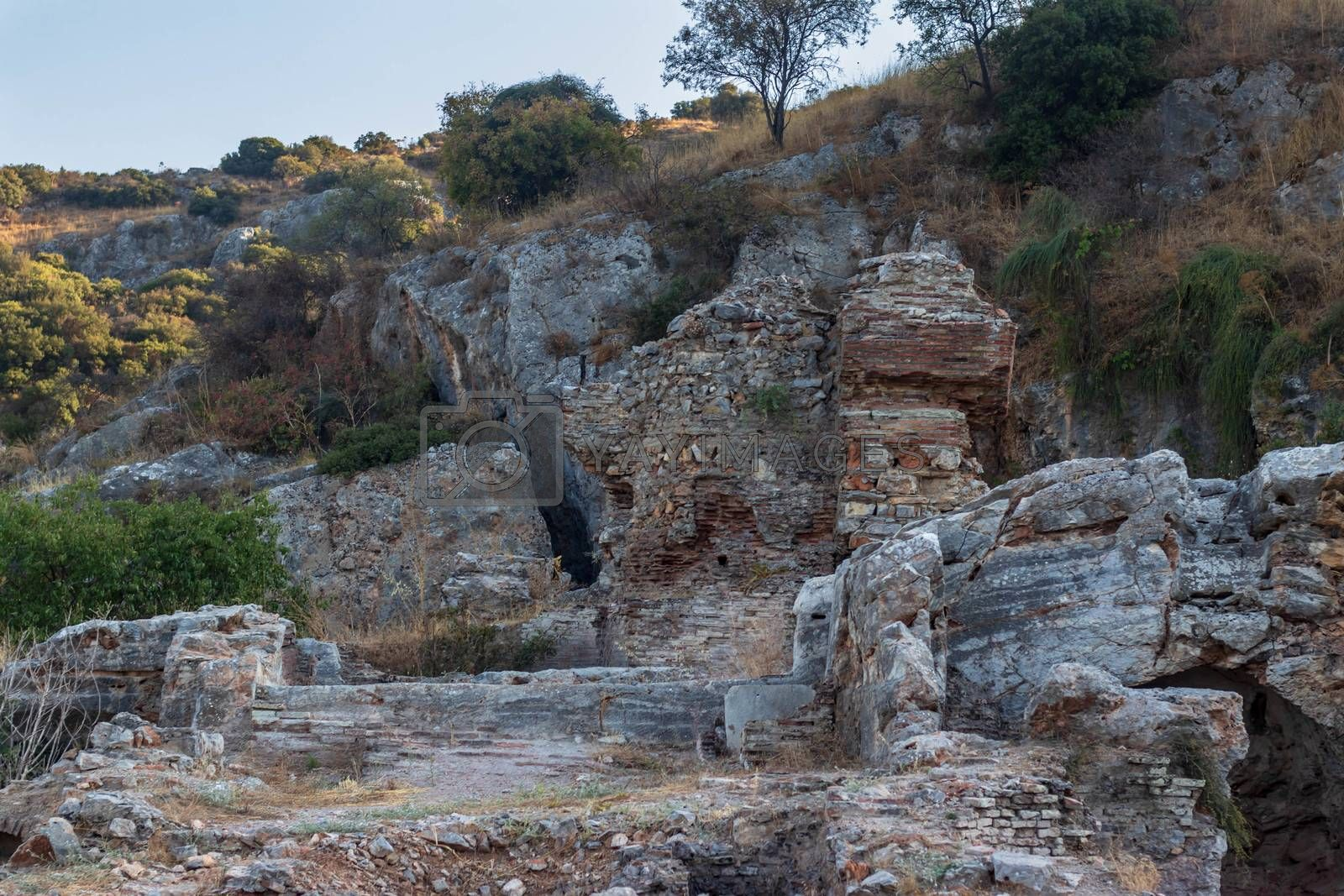 some ancient walls and stone structures at ancient city efes. photo has taken at izmir/turkey.