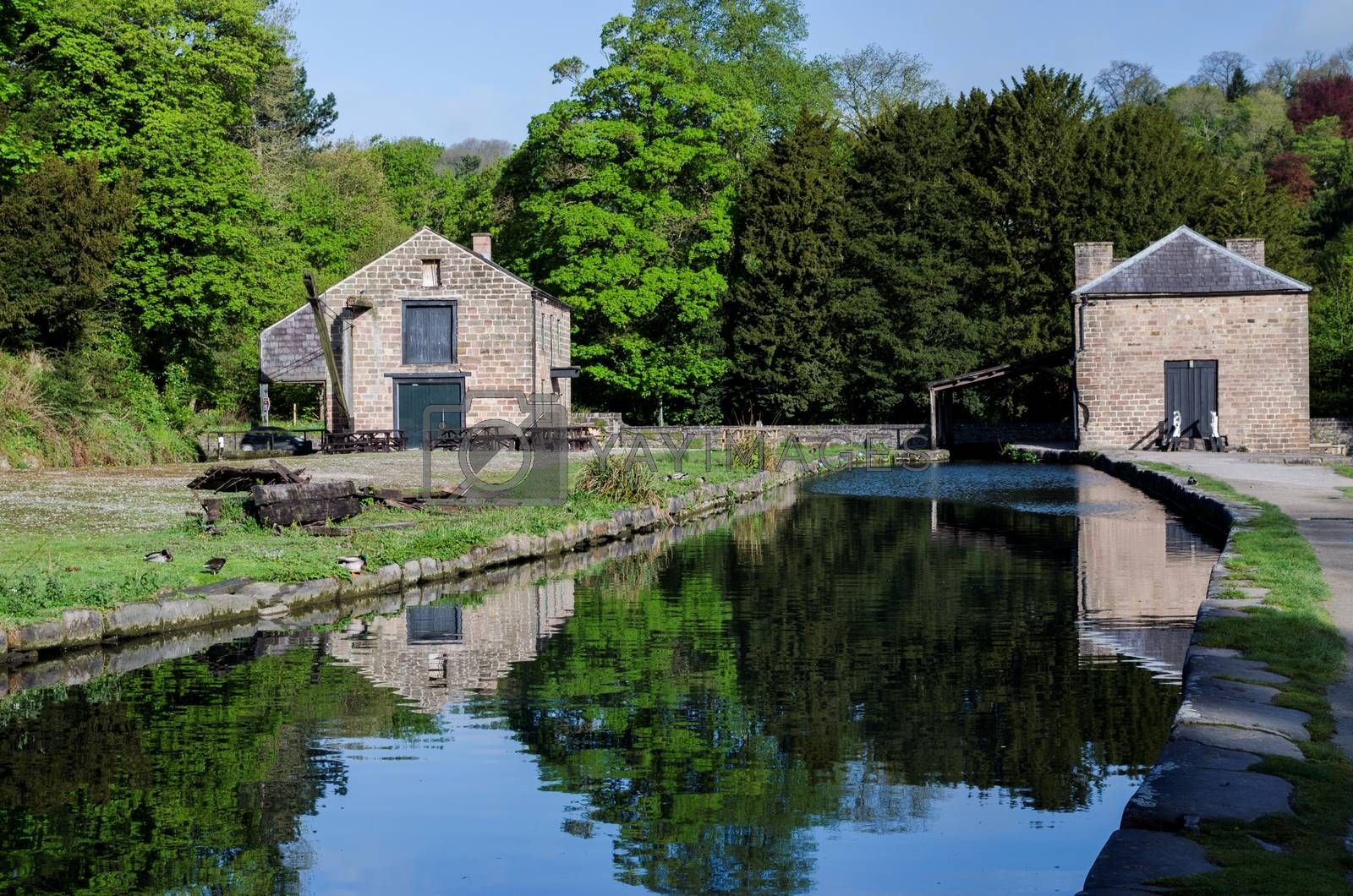 Old buildings at the side of Cromford Canal in the Peak District, Derbyshire