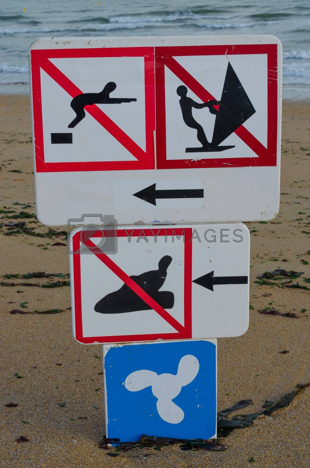 Sign which warns that there is no jet ski, diving or wind surfing!