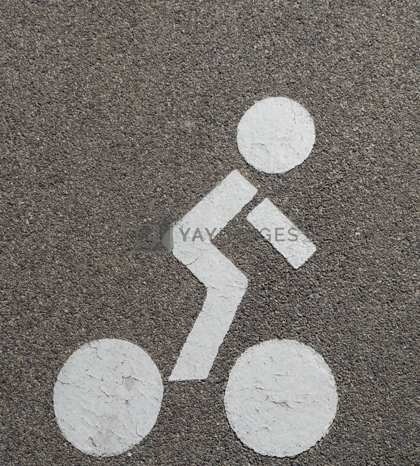 Cyclist icon on a pavement