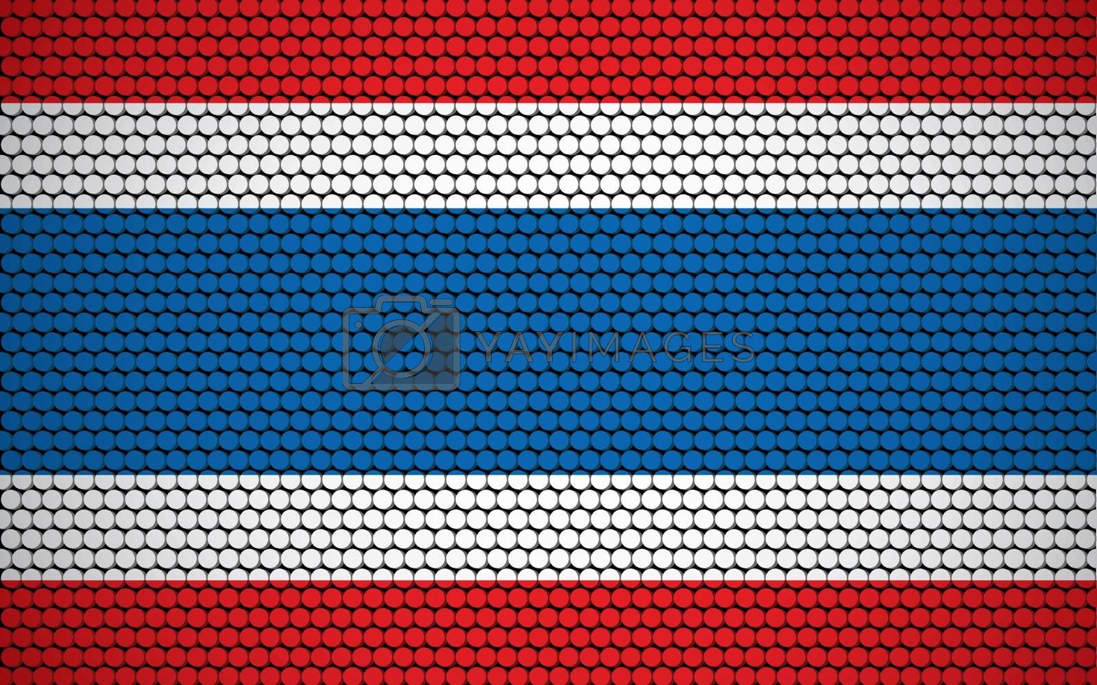 Abstract flag of Thailand made of circles. Thai flag designed with colored dots giving it a modern and futuristic abstract look.