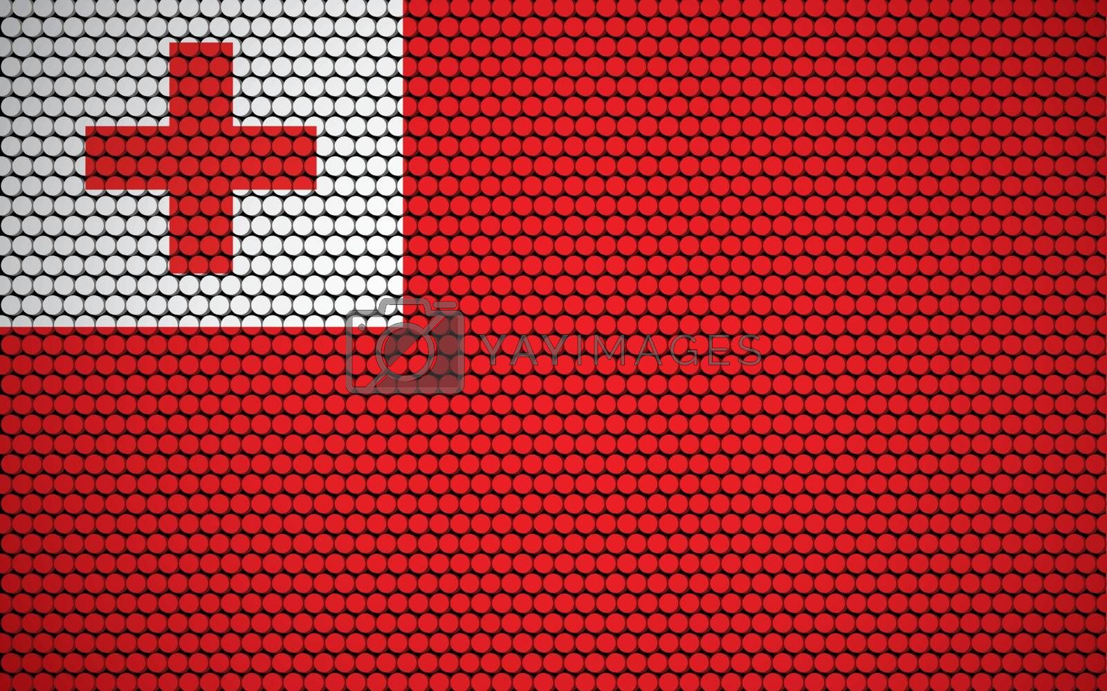 Abstract flag of Tonga made of circles. Tongan flag designed with colored dots giving it a modern and futuristic abstract look.
