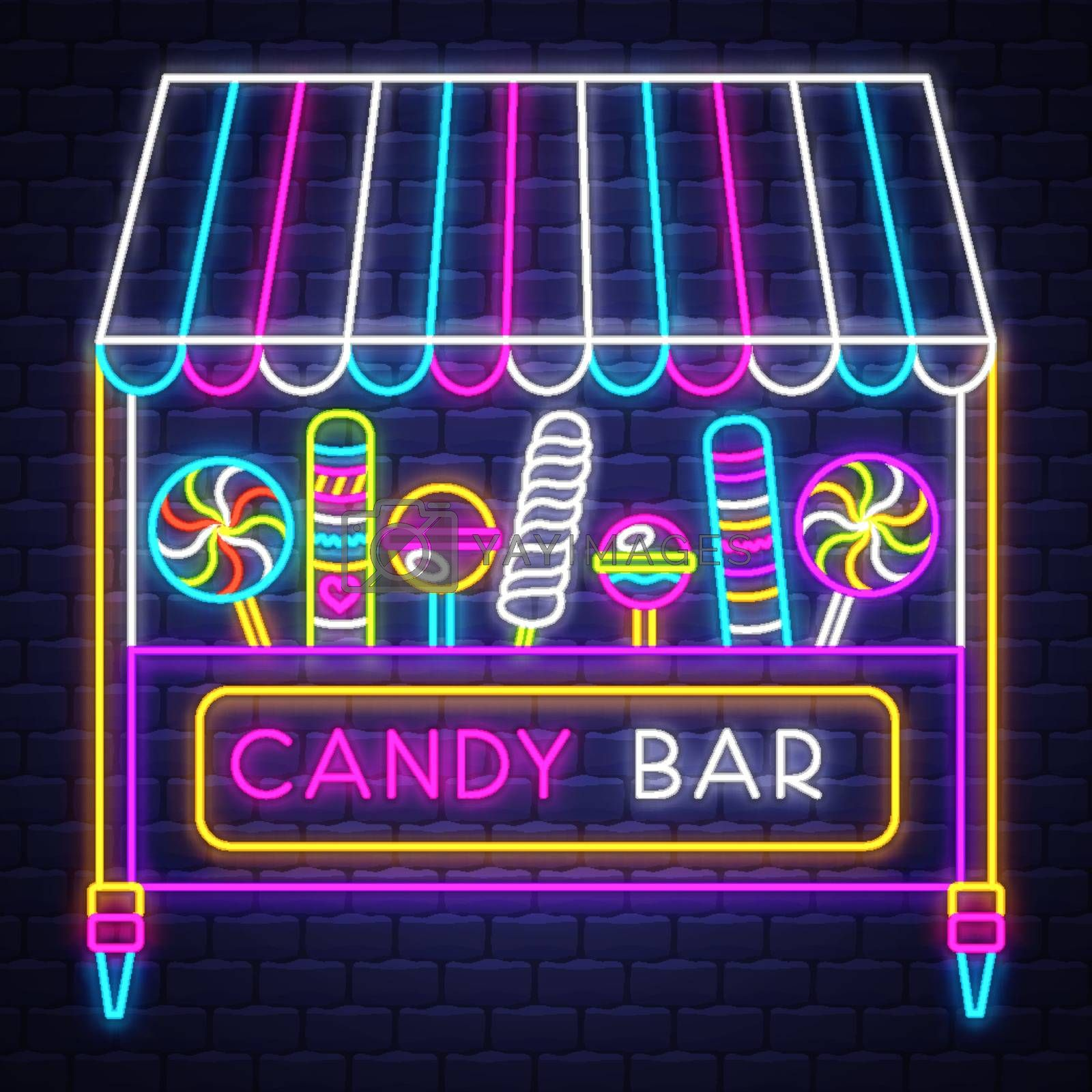 Candy bar - Neon Sign Vector. Candy bar - neon sign on brick wal by balasoiu