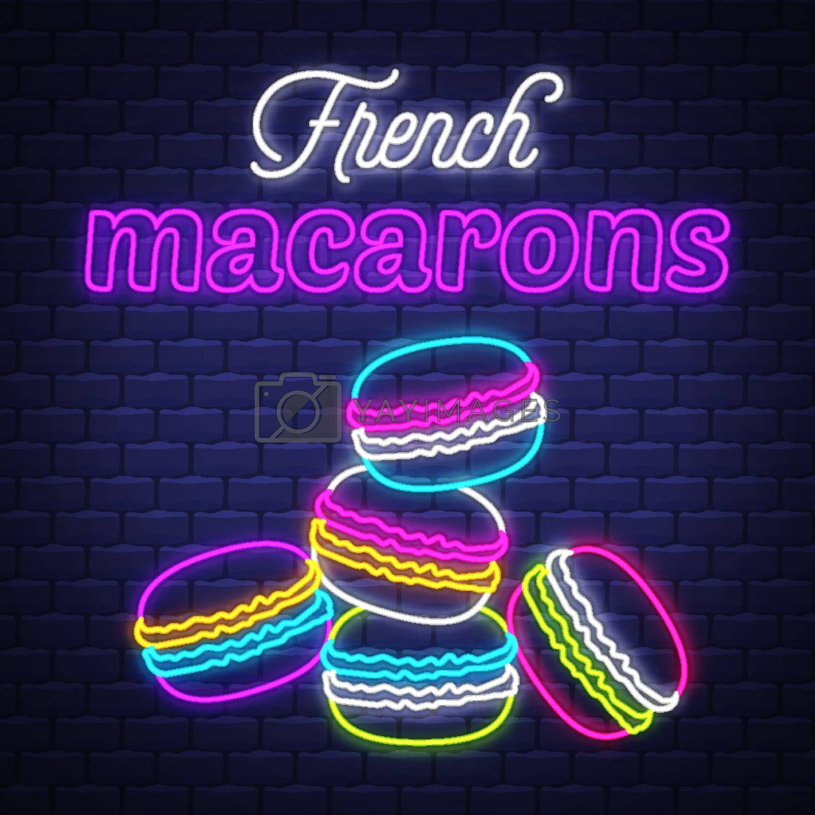 French macarons - Neon Sign Vector. French macarons - neon sign  by balasoiu