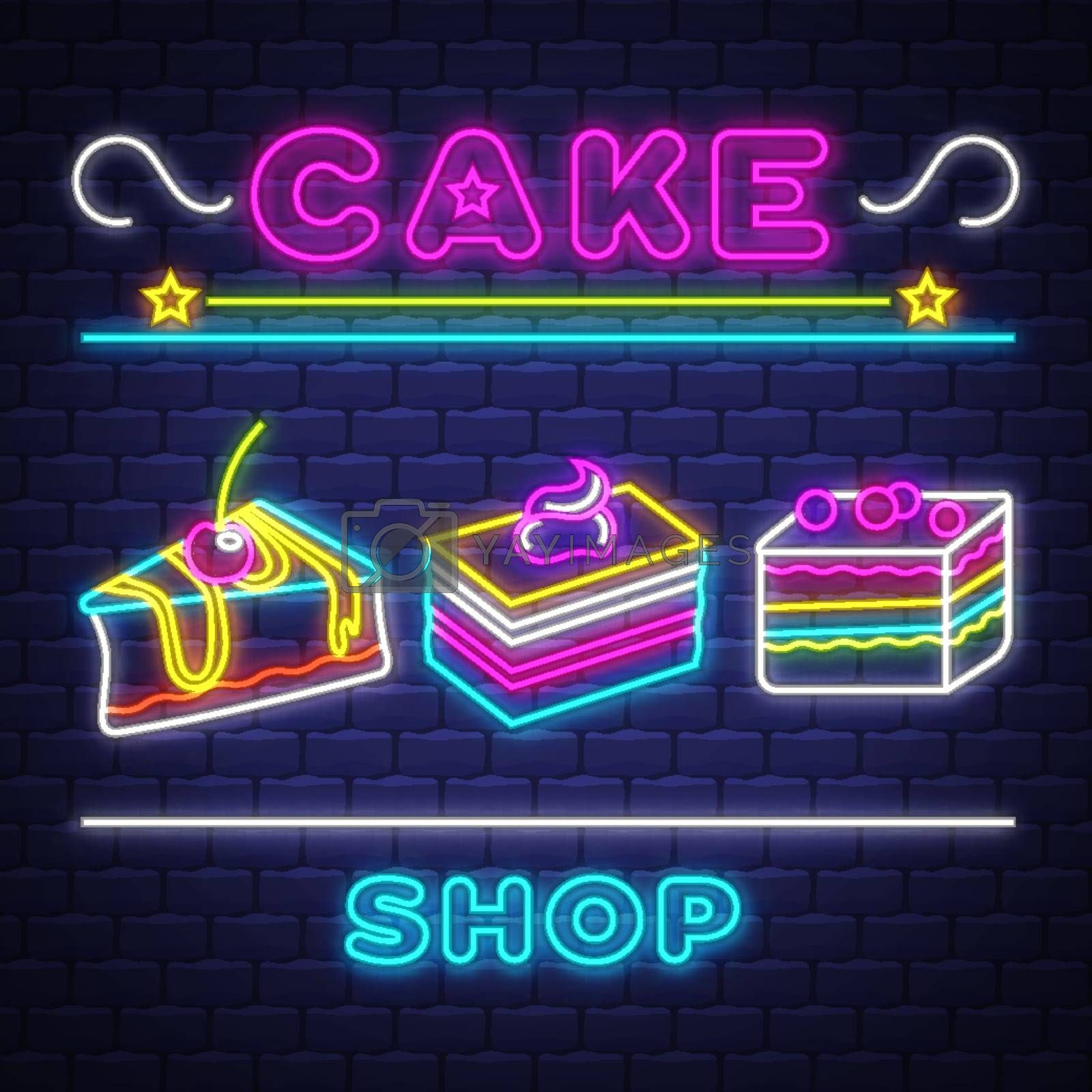 Cake Shop - Neon Sign Vector. Cake Shop - neon sign on brick wal by balasoiu