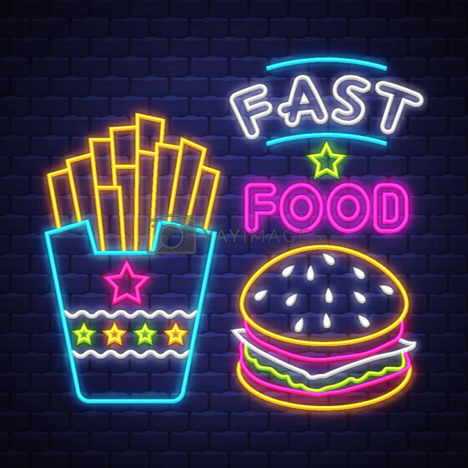 Fast Food - Neon Sign Vector. Fast Food - neon sign on brick wall background, design element, light banner, announcement neon signboard, night advensing. Vector Illustration.