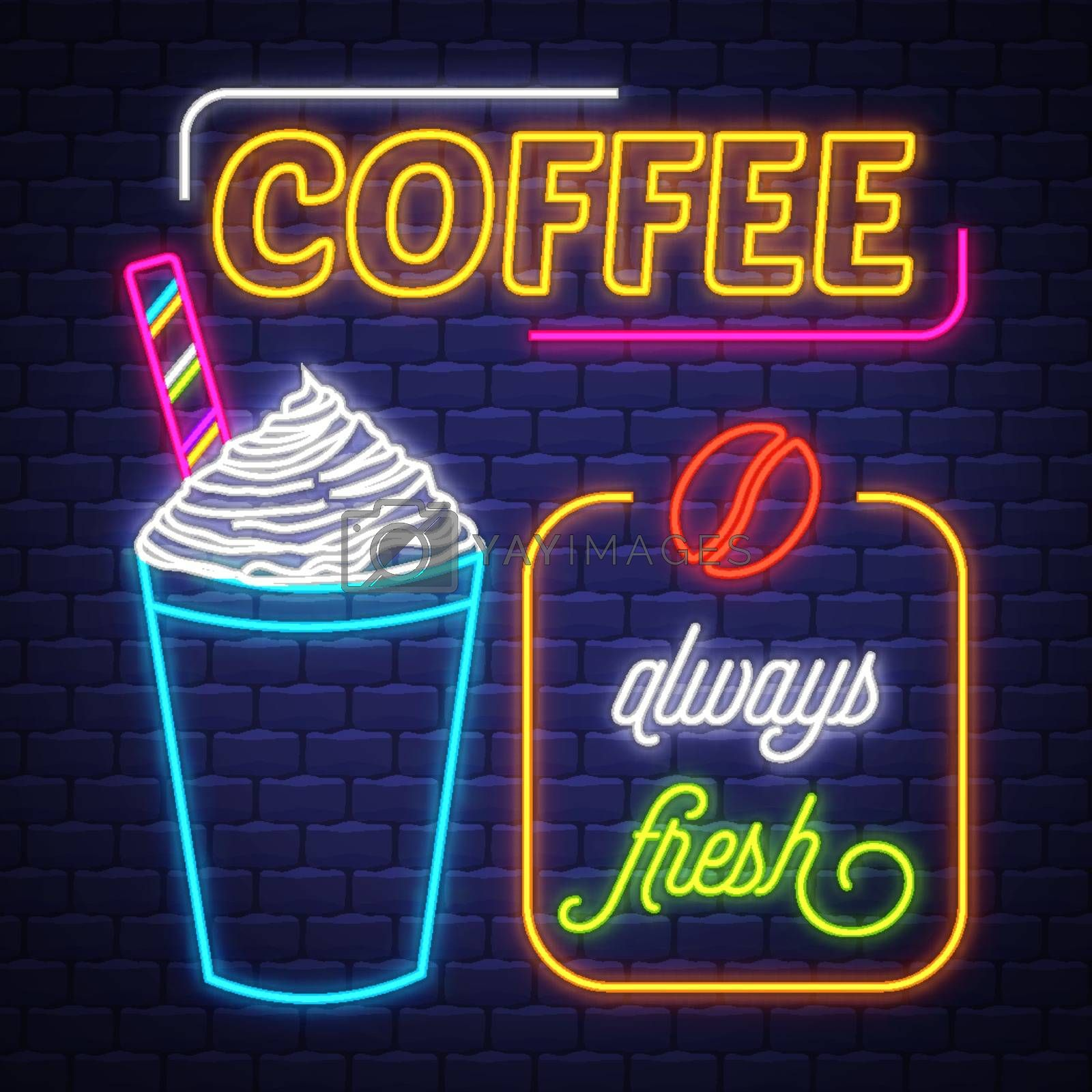Coffee- Neon Sign Vector. Coffee- neon sign on brick wall background, design element, light banner, announcement neon signboard, night advensing. Vector Illustration.