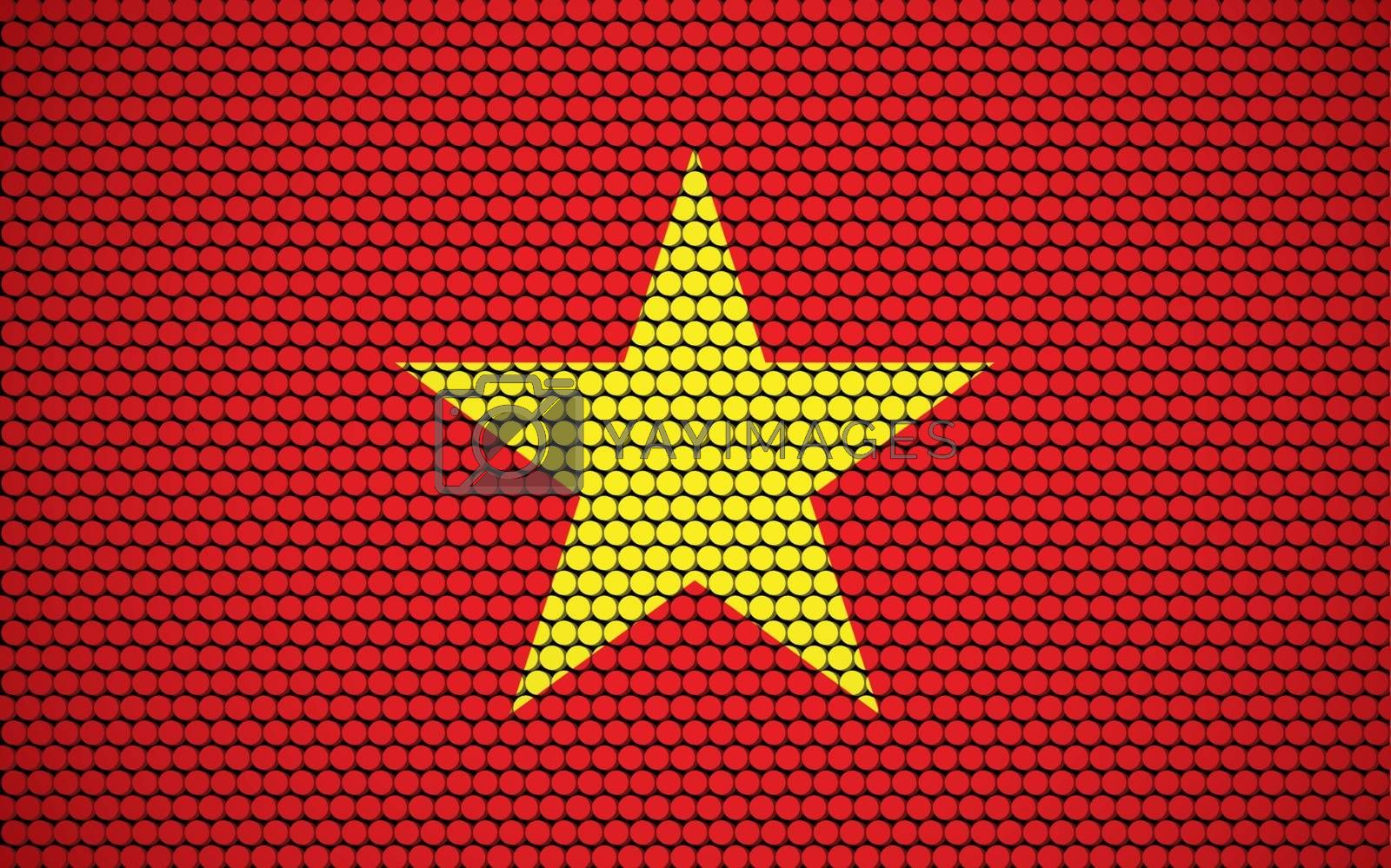 Abstract flag of Vietnam made of circles. Vietnamese flag designed with colored dots giving it a modern and futuristic abstract look.