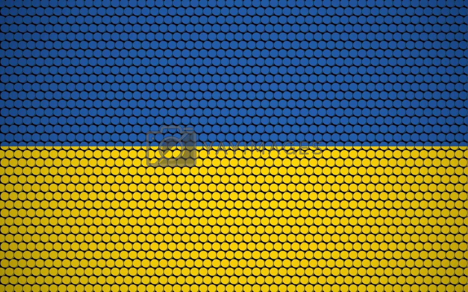 Abstract flag of Ukraine made of circles. Ukrainian flag designed with colored dots giving it a modern and futuristic abstract look.