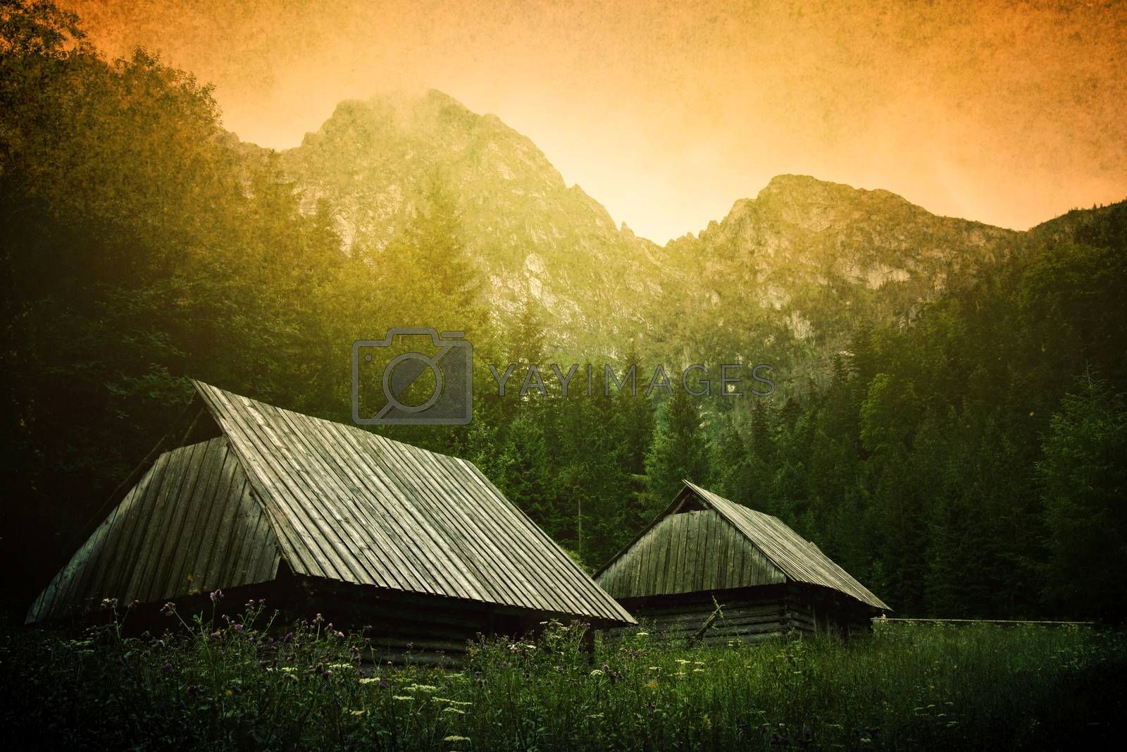 Small wooden houses under mountain. Nature in mountains. Grunge picture of Giewont.