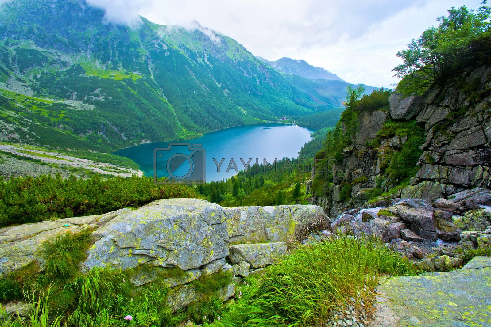 Lake in mountains. Morskie Oko in Tatry.