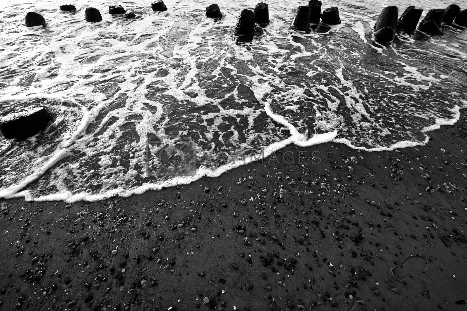 Sea ocean waves in black and white colors.